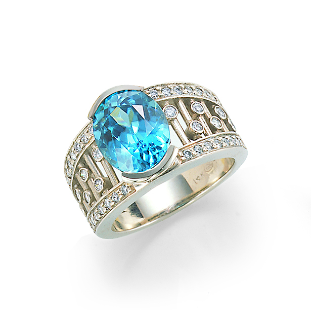 and top engagement zircon diamond custom ring blue rings