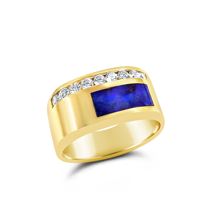 Mens Lapis Lazuli and Diamond Ring Michaels Creative Jewelry